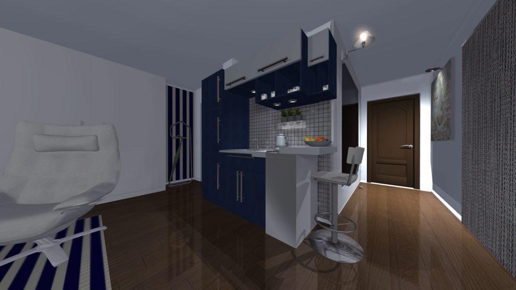 Povezanost prostora, od ulaza ka centralnom delu, marinsko plava boja kuhinje drži negativnosti pod kontrolom